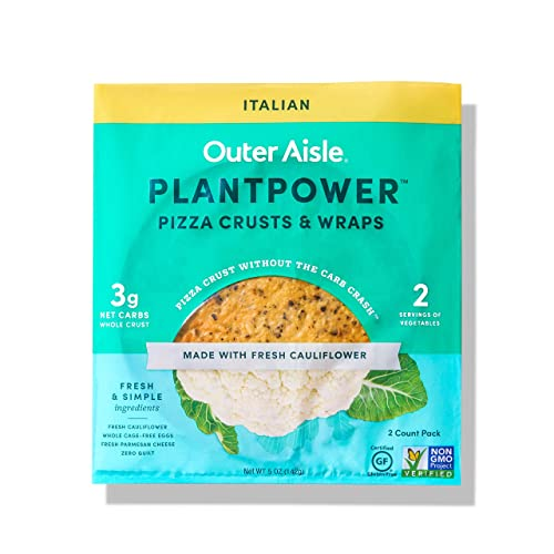 Outer Aisle Gourmet Cauliflower Pizza Crusts | Keto, Gluten Free Low Carb & Paleo Friendly | Italian | 4 Pack - 8 Crusts