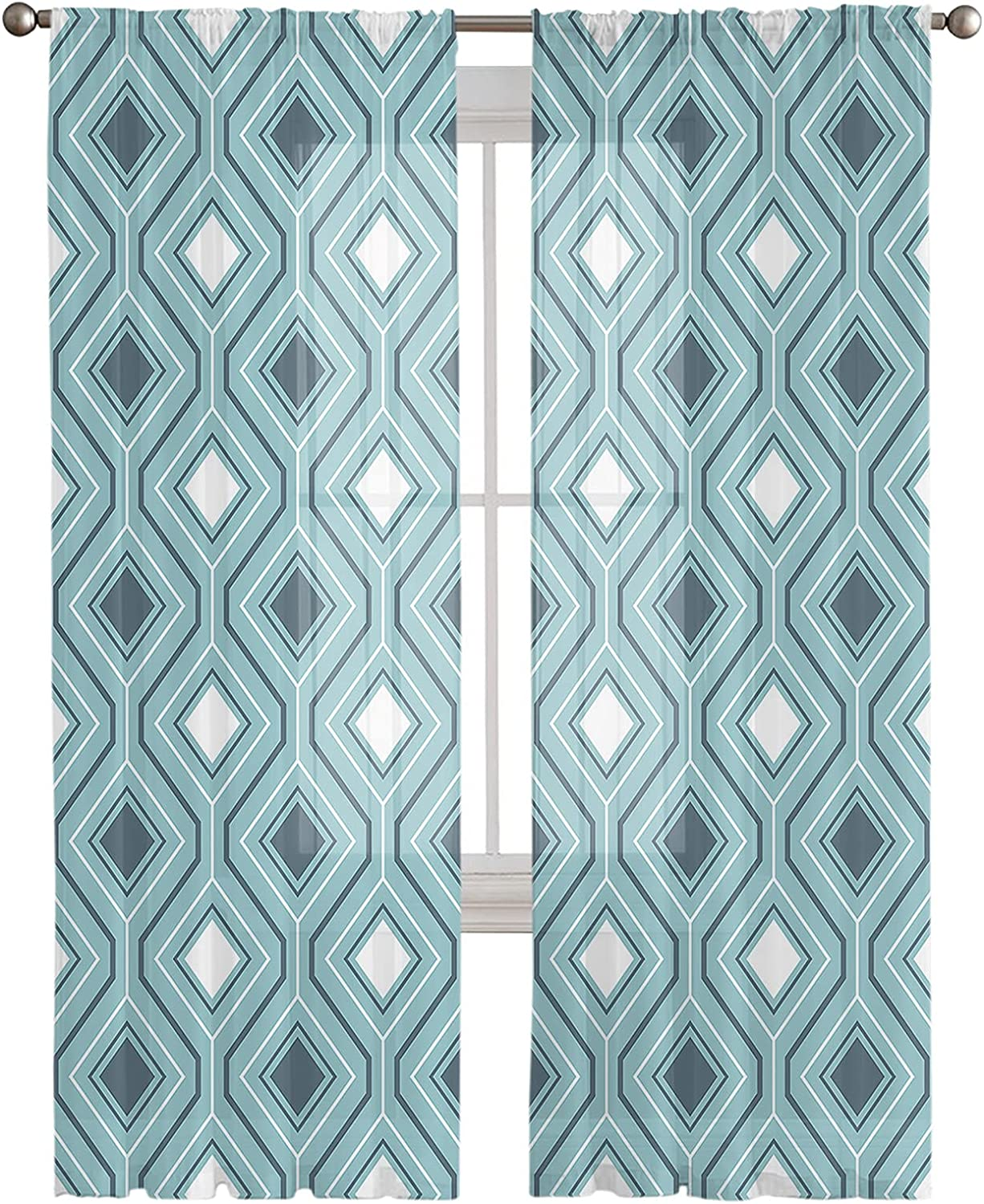 Sheer Curtains 72 Inches Sales Long OFFicial site Panels Teal Geomrtric Pattern 2