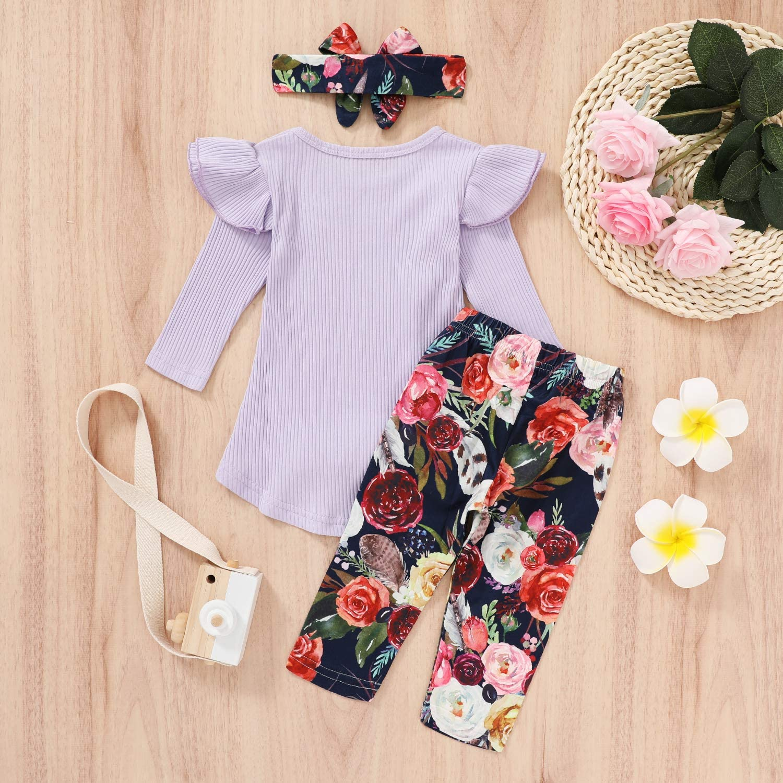 3PCS Toddler Baby Girls Clothes Sets Long Sleeve Irregular Ruffle Tops+Floral Pants+Bowknot Headband 3Pcs Autumn Outfits