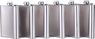 Xena 6 Pack Set Elegant Stainless Steel 8 oz Hip Pocket Leak Proof Liquor Flask Party Favor Bachelor Bachelorette Wedding Gift Groomsmen Bottle