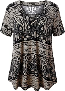 FOLUNSI Women's Plus Size Short Sleeve V Neck Swing...