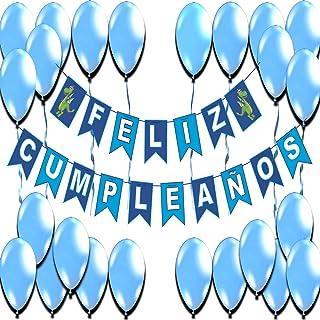 Globos de Cumpleaños Decoracion Cumpleaños Azul Feliz Cumpleaños Niño Dinosaurio Fiesta de Cumpleaños Niños Adornos Pancartas Banderines Guirnaldas Banner Banderas Happy Birthday Set Decoraciones