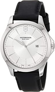 Victorinox Men's Stainless Steel Swiss Quartz Watch with Leather Strap, Silver, 21 (Model: 241905)