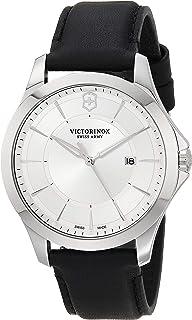 ساعة فيكترونيكس ستانلس ستيل سويسرية للرجال بسوار من الجلد، فضي، 21 موديل 241905