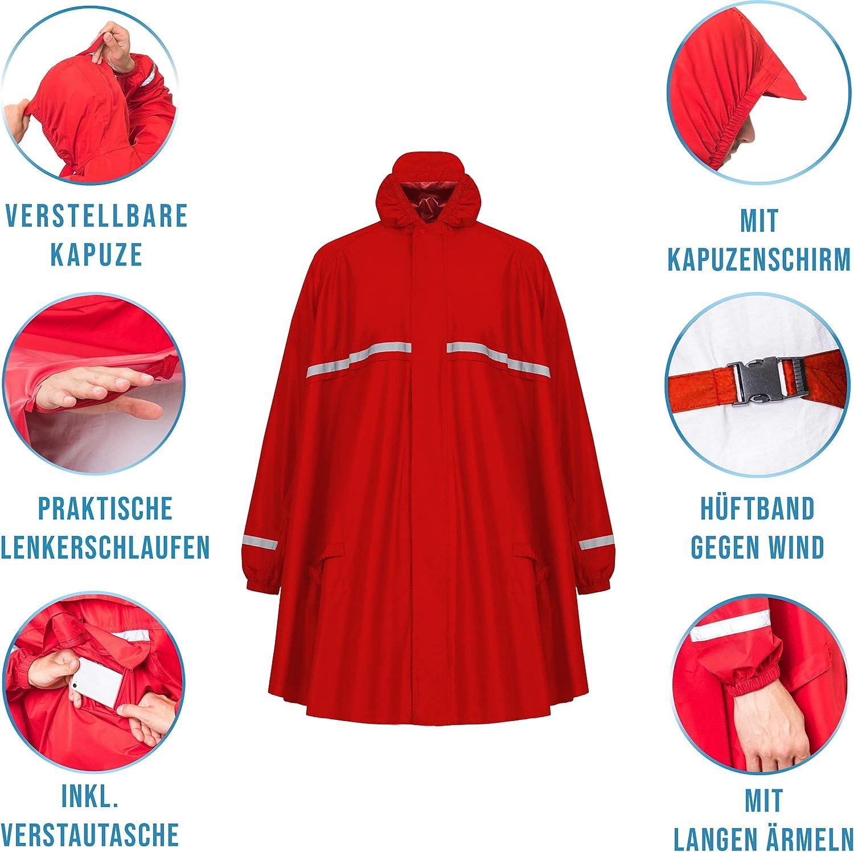 HOCK Regenponcho mit Reissverschluss und Ärmeln - Fahrradponcho Wasserdicht & Atmungsaktiv - Mit Kapuze und Reflektoren - Herren Damen Regenschutz - Hochwertige Regenbekleidung rot