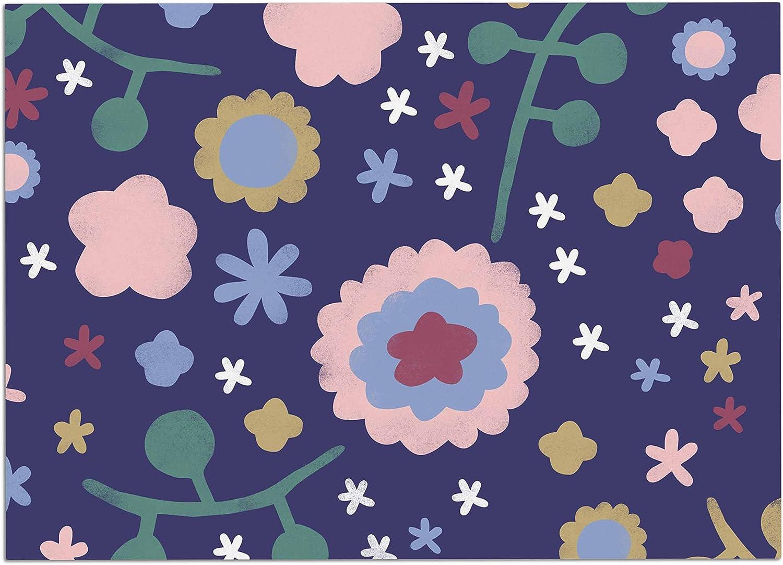 KESS InHouse AA2007ADM02 Alik Arzoumanian Night Floral bluee Nature Dog Place Mat, 24 x15