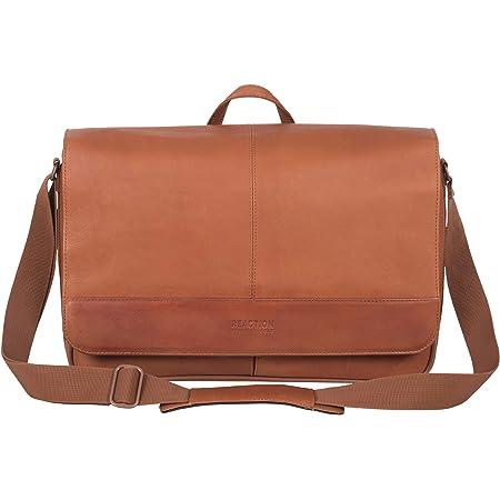 Kenneth Cole Reaction Manhattan Shoulder Satchel Bag Colombian Leather Computer & Tablet Travel Briefcase, Cognac Laptop Messenger