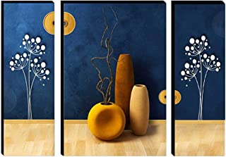 SND Art UV Textured Beautiful Flower Set of 3 Modern Art Print MDF Frame Wall Painting for Living Room (18 X 6 inch,18 X 1...