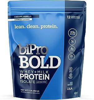BiPro Bold Whey + Milk Protein Powder Isolate, Creamy Vanilla 1 Pound - No Added Sugar, Lactose Free, Gluten Free, Naturally Sweetened, Contains Prebiotic Fiber