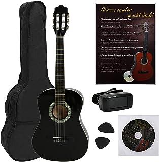 Navarra NV12PK - Guitarra Clásica para Aprender, Sintonizador con Clip Pantalla LCD, con Funda Tipo mochila y Bolsillo para Partituras/ Accesorios