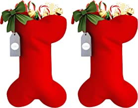 Fully Lined, Large Cable Knit Christmas Stocking 2pk. Festive Dog Bone Shape Xmas Gift Holder With Bow. Super Cute Holiday...