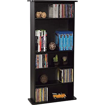 Atlantic Drawbridge Media Storage Cabinet - Store & Organize A Mix of Media 240Cds, 108DVDs Or 132 Blue-Ray/Video Games, Adjustable Shelves, PN37935726 in Black
