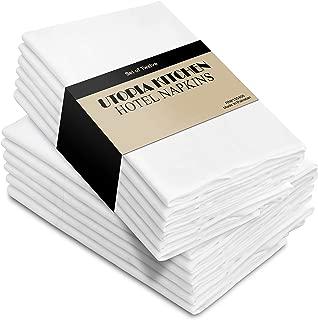 Utopia Kitchen Cloth Napkins, 12 Pack (18 x 18 Inches), White Dinner Napkins