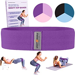 sport2people Exercise Band for Legs and Butt with Free 4-Week Booty Workout Program - Fabric Resistance Loop Bands Set for Strength Training, Home Gym, Fitness