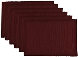 DII Washable Ribbed Cotton Placemat, Set of 6, Wine Red - Perfect for Fall, Dinner Parties, BBQs and Everyday Use
