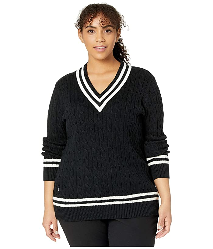 Ladies' Colorful 1920s Sweaters and Cardigans History LAUREN Ralph Lauren Plus Size Cotton Cricket Sweater Polo BlackMarscapone Cream Womens Clothing $102.24 AT vintagedancer.com