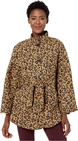 Leopard Belted Cape Toggle Topper