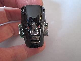 black onyx abalone hand handmade face mayan mosaic abalone stone mask warrior carving warrior headdress necklace pendant bead head Guatemalan aztec