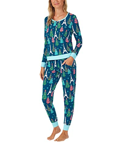 BedHead Pajamas Parisienne Holiday Henley Joggers (Parisienne Holiday) Women