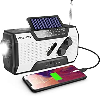 Emergency Weather Solar Crank AM/FM NOAA Radio with Portable 2000mAh Power Bank Bright Flashlight and Reading Lamp For Hou...