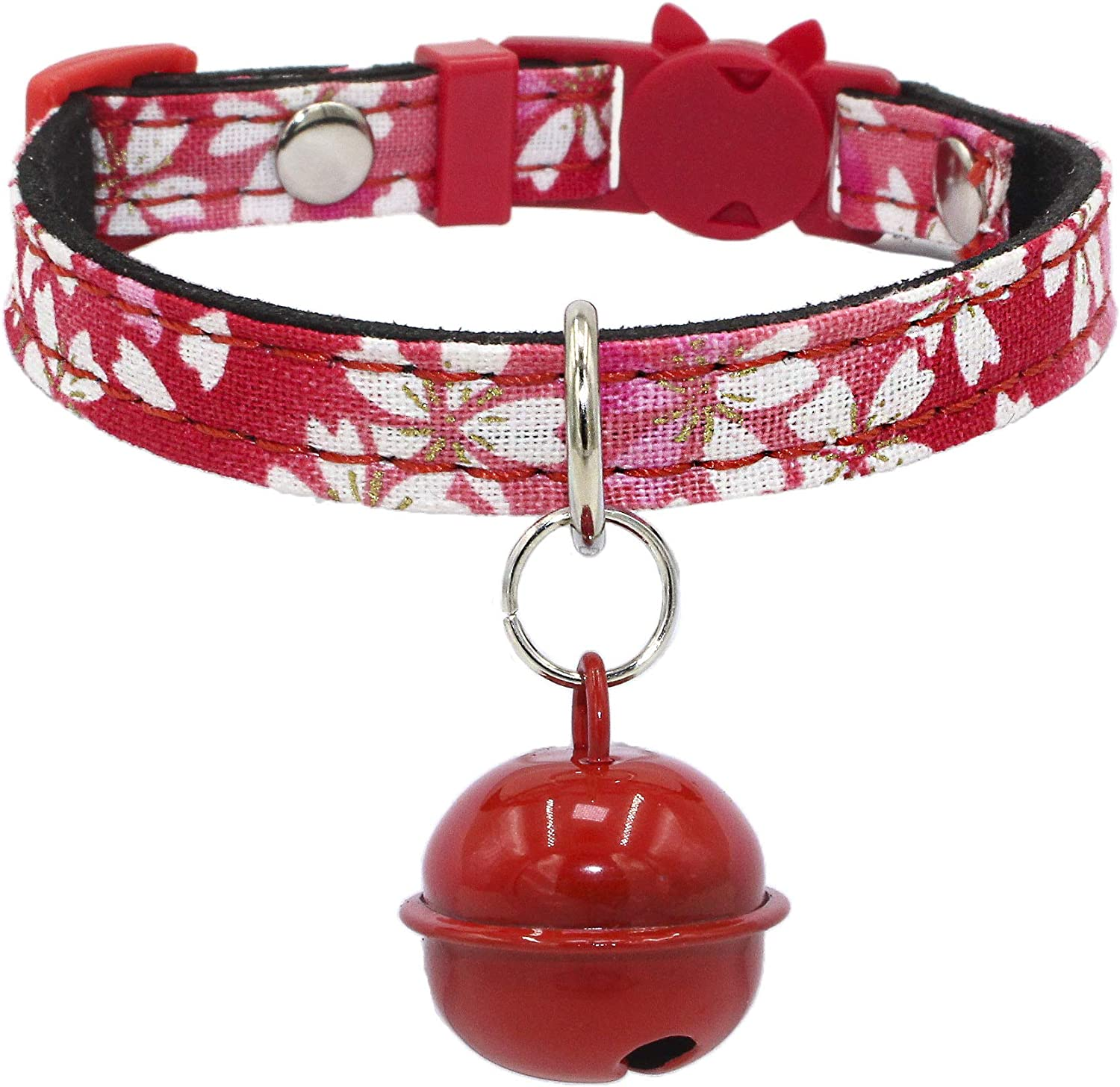 Newtensina Soft Cats Bells Collar Cute Puppy Bells Collar for Small Cats Dogs  Red  XS