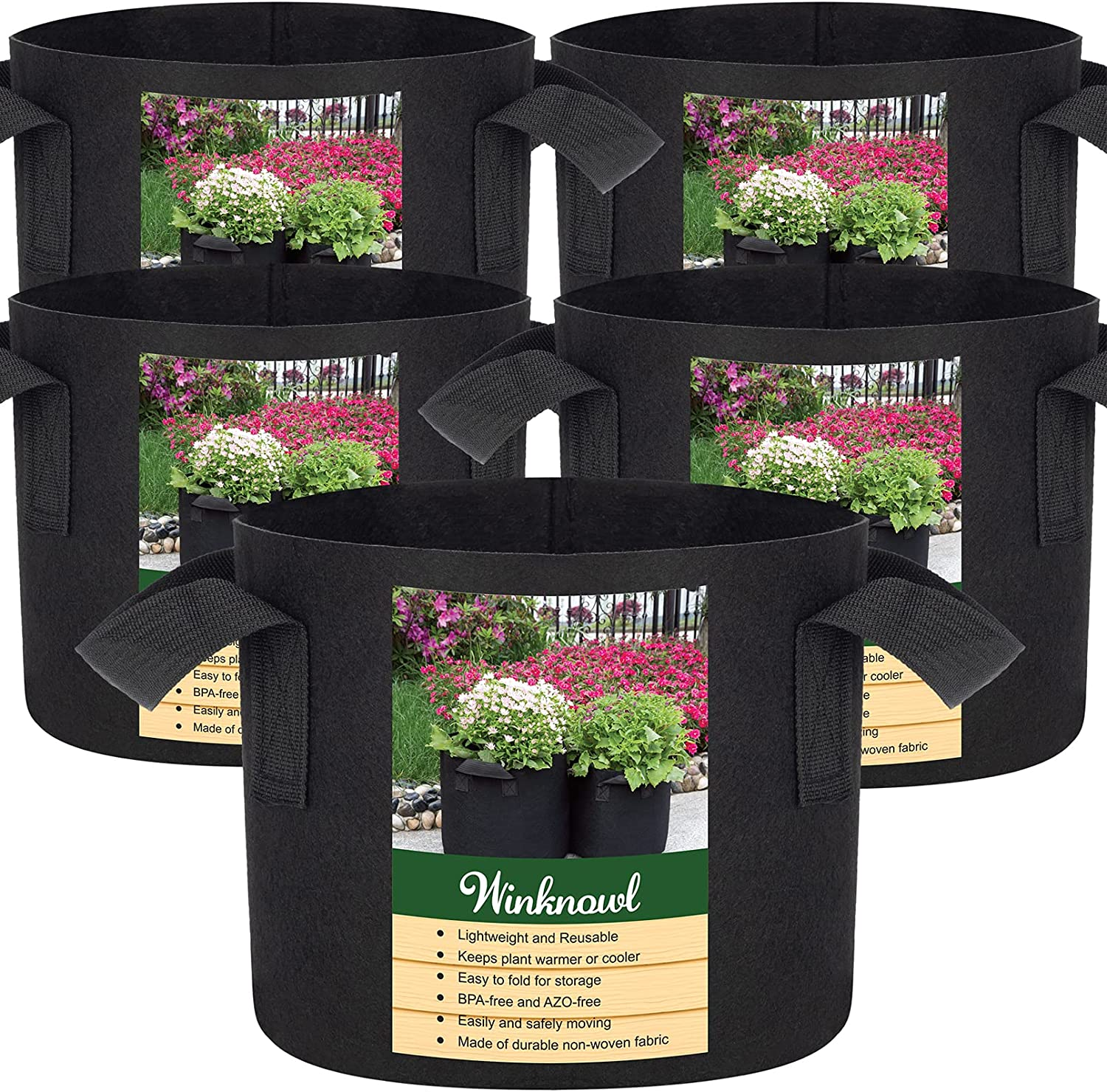 Max 58% OFF Winknowl 5-Pack 15 Gallon Grow Duty No Large-scale sale Bags,Heavy Thickened