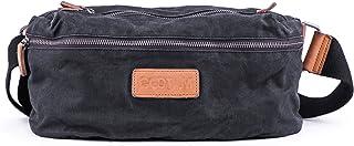 Gootium Vintage Canvas Waist Bag Cross Body Fanny Pack Travel Bum Bag, Unisex, Black