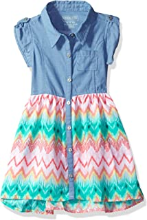 Girls' Toddler Chambray Dress with Challis Skirt Sweep