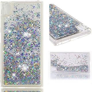 2f54e37d66e HopMore Glitter Funda para Sony Xperia XA1 Plus Silicona 3D Liquido  Brillante Purpurina Dibujos Transparente TPU