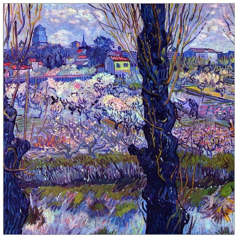 ArtPlaza TW90984 Van Gogh Vincent - View of Arles Decorative Panel 31.5x31.5 Inch Multicolored