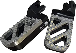 Knight Design Lowered Wide Foot Peg Pair for BMW R1150GS and R1150GS Adventure models, 1-5/8 inch lower than stock, Black base with Stainless Steel Hunter tread