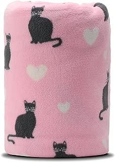 "COSMOZ dryd Cat White Heart Pattern Pink Background Soft Lightweight Coral Fleece 230GSM Blanket Throw 50"" x 60"""