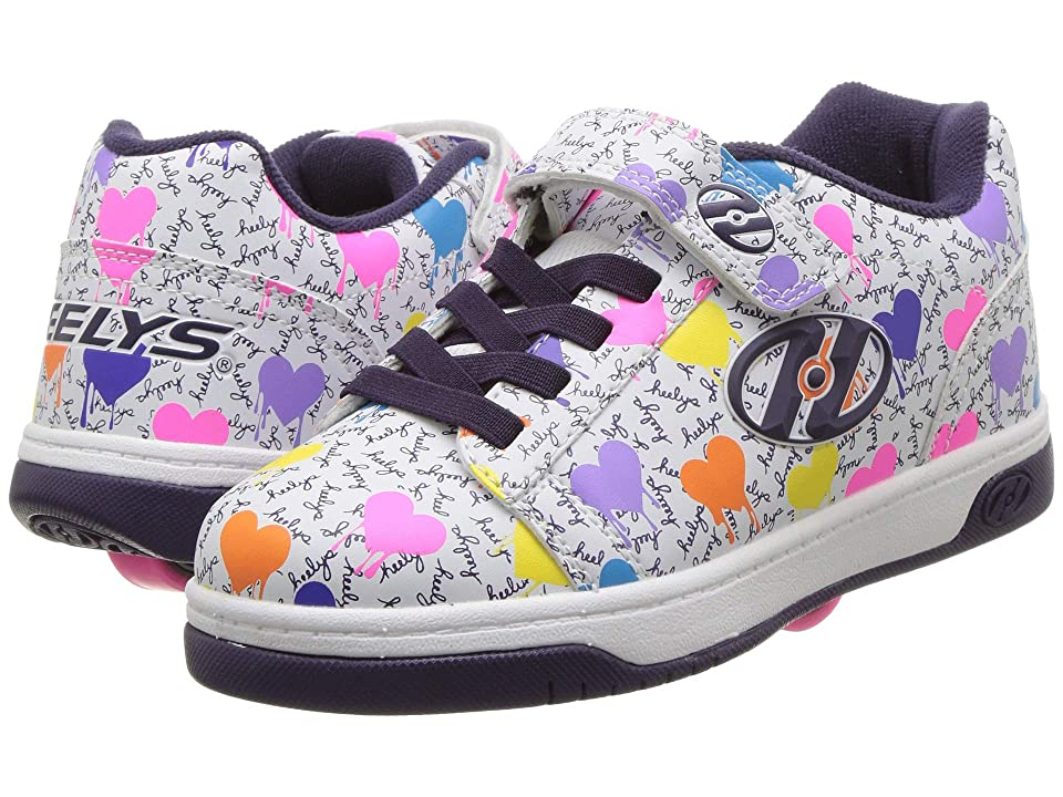 Heelys Dual Up X2 (Little Kid/Big Kid/Adult) (White/Multi Heart/Drip) Girls Shoes
