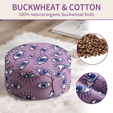 MuFlyed Large Meditation Cushion, Round Cotton Yoga Pillow for Women and Men, Buckwheat Meditation Pillows for Sitting on Flo