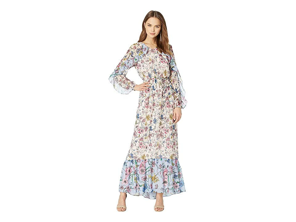 Juicy Couture Mixed Floral Maxi Dress (Eggshell/Sweat Cornflower) Women