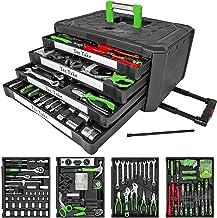 TecTake Maletín con herramientas 610pc piezas maleta trolley caja martillo alicates con 4 cajones