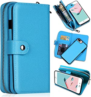 iPhone 8 Plus Case,iPhone 7 Plus Wallet Cases, CASEOWL Magnetic Detachable Large Capacity Zipper Pocket Leather Wallet Case, Wrist Strap, Card Holder Slots for iPhone 8 Plus/iPhone 7 Plus-Blue