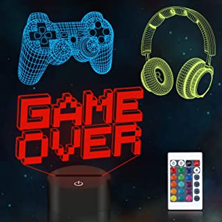 Game Gitfs,CooPark Pixel Illusion Lamp,Gamepad 3D Night Light (3 Patterns) 16 Colors Changing with Remote Control Dimmabl...