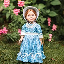 The Queen's Treasures Historic 1800's Style Blue Sunday Dress and Hat. 18 Inch Doll Gown Outfit is Compatible wiith American Girl Dolls and Clothes
