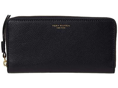 Tory Burch Perry Zip Continental Wallet (Black) Handbags