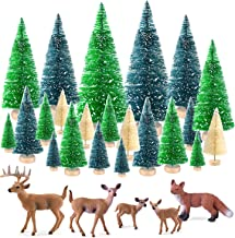 KUUQA 25 Pcs Mini Sisal Trees Bottle Brush Trees Snow Frost Trees with Miniature Figures Woodland Animals Deer Fox Table T...