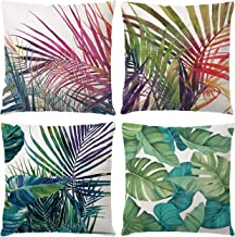 Treely Decorative Throw Pillow Covers Tropical Flower Leaves Cotton Linen Cushion Covers 18 X 18 Inch for Car Sofa Bed Couch(Green Leaves-5)
