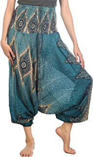 LOFBAZ Harem Yoga Pants for Women Boho Hippie Bohemian Aladdin Genie Jumpsuit