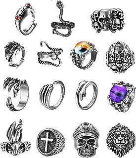 حلقه های قابل تنظیم گوتیک حلقه های قابل تنظیم برای زنان مردان Subiceto 15 قطعه Vintage Punk حلقه های زنانه قورباغه اختاپوس مار جمجمه حلقه های خنک مجموعه ای از جواهرات