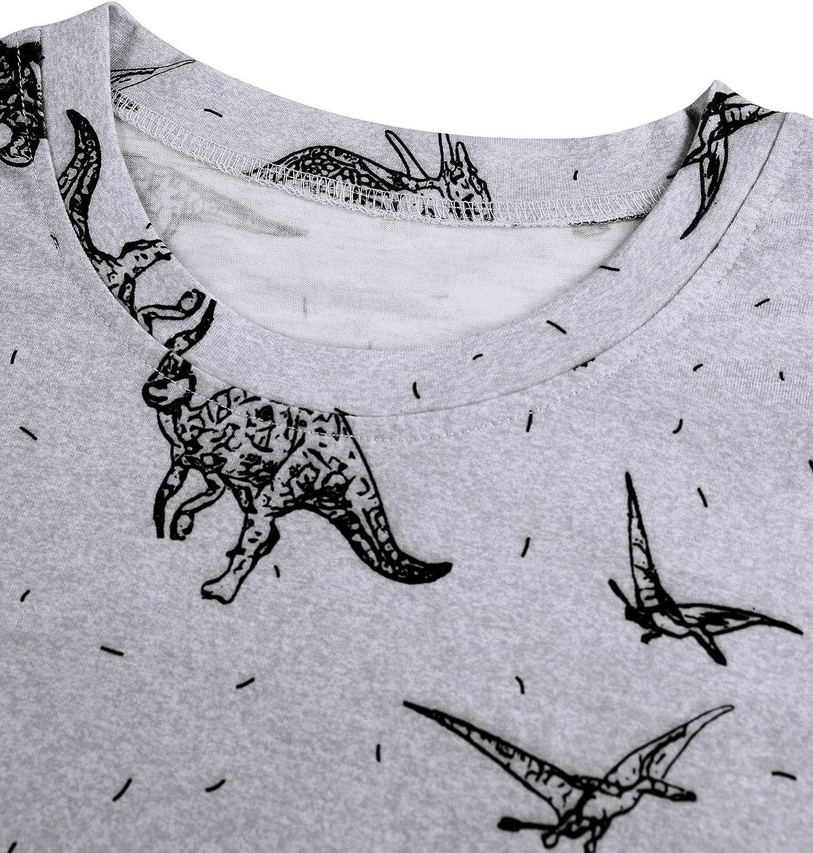 YNALIY Women Vintage Dinosaur Graphic Tees Crewneck Long Sleeve Sweatshirt Tops
