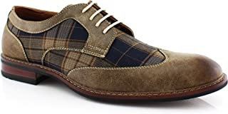 Ferro Aldo Julian MFA19266APL Mens Casual Plaid Wing Tip Perforated Mid-Top Brogue Oxford Dress Shoes