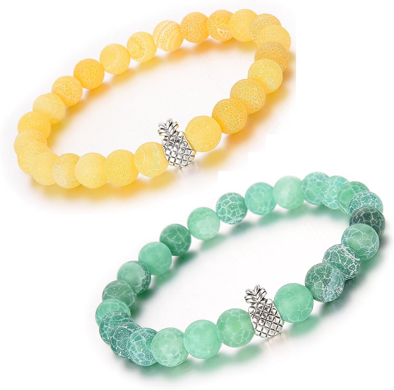 ZHEPIN Pineapple Charm Bracelets for Lovers Couple,Best Friend Bracelet-8mm Beaded Bracelet for Women and Men