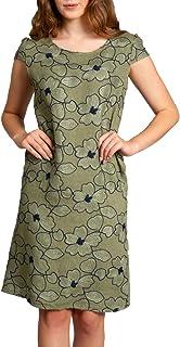 Caspar SKL034 knielanges Damen Sommer Kleid Leinenkleid Blüten Stickmuster