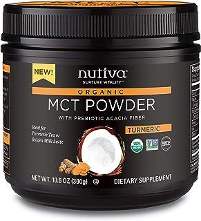 Nutiva Organic MCT Powder with Prebiotic Acacia Fiber, Turmeric, 10.6 Ounce - USDA Organic, Non-GMO, Non-BPA - Vegan, Glut...