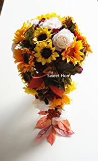 Sweet Home Deco Silk Sunflower Rose Maple Leaves Wedding Flower Package Cascading Bridal Bridesmaid Bouquet Boutonnier Fall Colors (Mix Colors-12''W Cascading Bouquet)